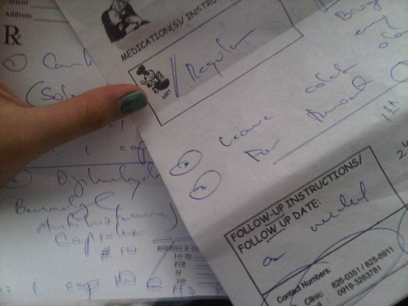 My last discharge sheet from Dr. Yatco