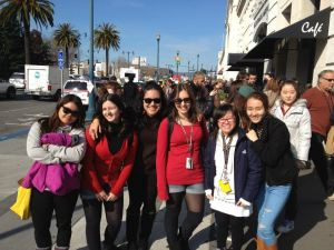At Pier 39, waiting for the ferry to Alcatraz Island. L-R, Rachel, Deb, me, Natalia, Van, and Katie