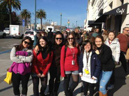At Pier 39, waiting for the ferry to Alcatraz Island. L-R, Rachel, Deb, me, Natalia, Van, and Katie
