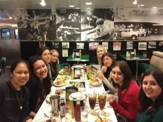 Still at Mel's Diner. L-R Gracie, me, Francesca, Marika's roommate, Marika, Chiara, Natalia and Deb