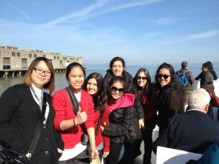 Aboard the ferry to Alcatraz. L-R, Theresa, Gracie, Deb, Francesca, Natalie, Natalia and I